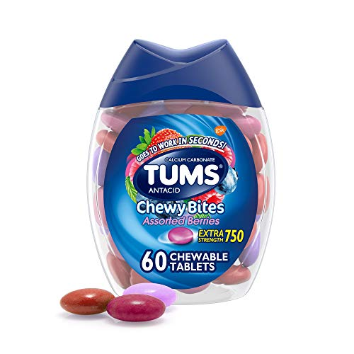 TUMS Chewy Bites Antacid Tablets for Chewable Heartburn Relief and Acid Indigestion Relief, Assorted Berries - 60 Count