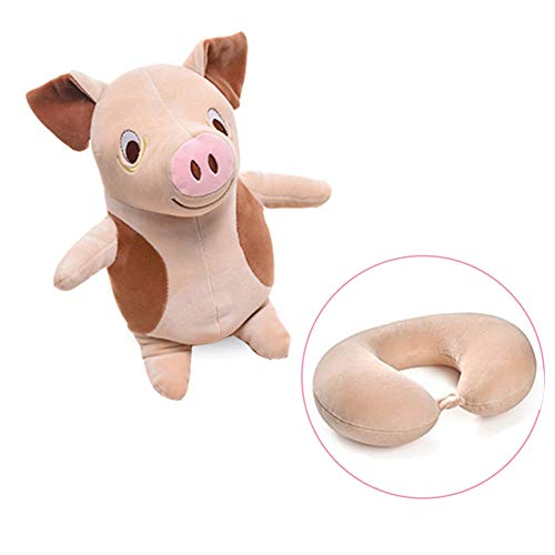 Ytzada Pig Neck Pillow Travel Pal Travel Pillow Stuffed Animal Perfect for Airplane, Car, Converts from U Shaped Pillow to Stuffed Plush Animal Toy for Kids, Boys, Girls and Any Age