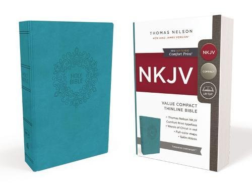 Nkjv  Value Thinline Bible  Compact  Leathersoft  Blue  Red Letter Edition  Comfort Print