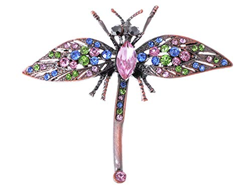 Art Brooch Nouveau Pin (Alilang Art Noueveau Antique Copper Tone Multi Color Crystal Rhinestone Dragonfly Pin Brooch)