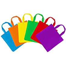 """Assorted Colorful Solid Blank Canvas Party Gift Tote Bags Rainbow Colors with Handles for Birthday Favors, Snacks, Decoration, Arts & Crafts, Event Supplies (12 Bags) by Super Z Outlet (12"""" Inches)"""