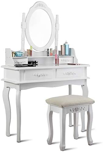 WATERJOY Vanity Set, Dressing Makeup Vanity Table Set with Round Mirror Cushioned Stool for Bathroom, Bedroom, 35.4 14.2