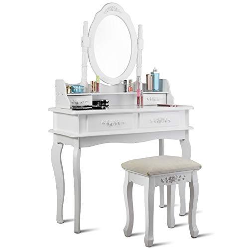 WATERJOY Vanity Set, Dressing Makeup Vanity Table Set with Round Mirror Cushioned Stool for Bathroom, Bedroom, 35.4 14.2