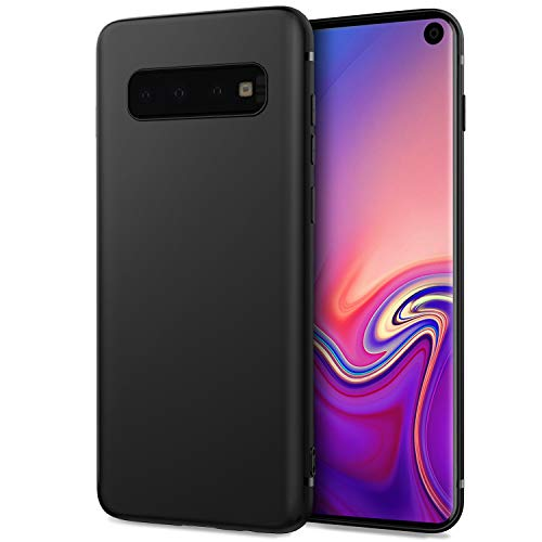 DiMiK Case for Samsung Galaxy S10, [Support Wireless Charging] Black Thin Soft Silicone Ultra Slim Fit Matte Finish Flexible TPU Phone Case Cover Compatible for Samsung Galaxy S10 (6.1inch) - Black