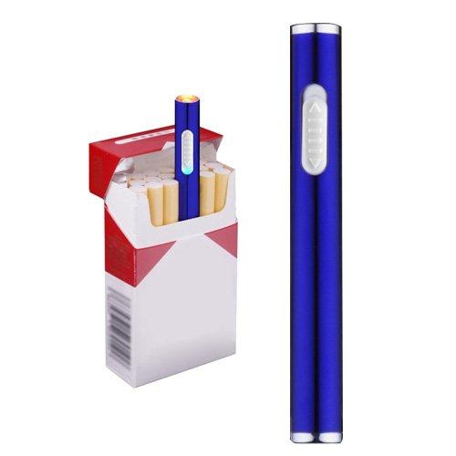 USB Electric Cigarette Lighter Mini Protable Rechargeable Windproof Flameless No Gas Lighter (Blue) (Flameless Cigarette)