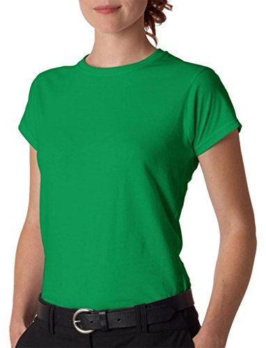 Gildan- Camiseta de manga corta para mujer Verde Irlandés