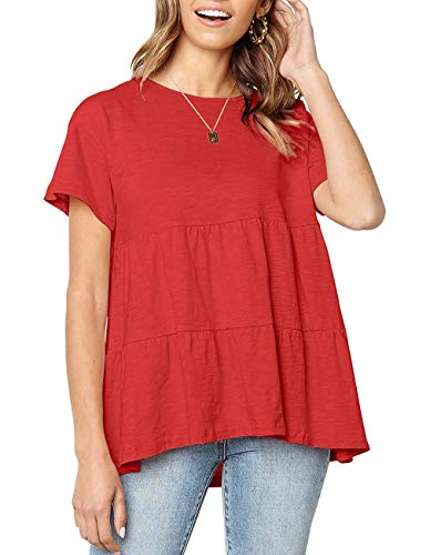 (Blouses for Women Summer Casual Short Sleeve Tank Blouses Loose Fit Cute Peplum Tee Tops Red)