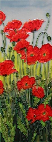 """Red Poppies - Decorative Ceramic Art Tile - 6""""x16"""" En Vogue"""
