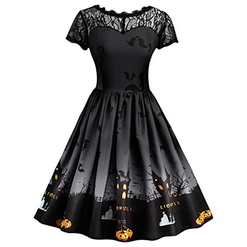 iYBUIA Halloween Women Fashion Lace Short Sleeve Vintage