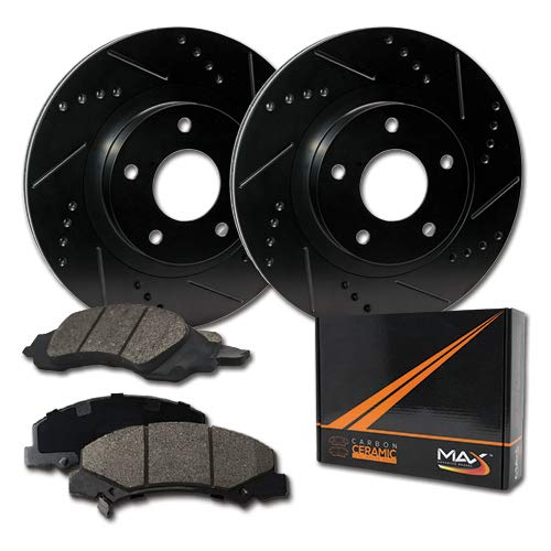 Max Brakes E-Coated Slotted|Drilled Rotors w/Ceramic Brake Pads Front Elite Brake Kit KT068381 [Fits:2006-2011 Chevy HHR ] Max Advanced Brakes