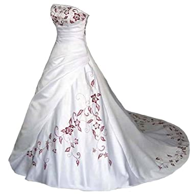 Faironly White Satin Red Embroidery Strapless Wedding Dress Bridal Gown (M, White Red)