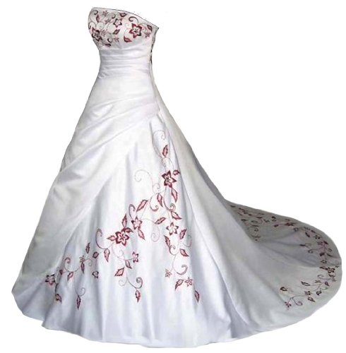 Faironly White Satin Red Embroidery Strapless Wedding Dress Bridal Gown (XL, White Red)
