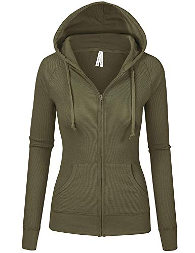 TL Women's Comfy Versatile Warm Knitted Casual Zip-Up Hoodie Jackets in Colors 35_OLIVE L