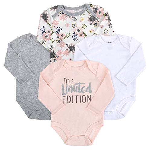 Baby Essentials 4-Pack Long Sleeved Bodysuits (6 Month, Limited Edition Floral Saying)