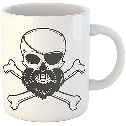 11 Ounces Coffee Tea Mug Gifts Funny Ceramic Pirate Skull Beard Eye Patch and Crossed Bones Edward Teach Portrait Corsair Gifts For Family Friends Coworkers Boss Mug
