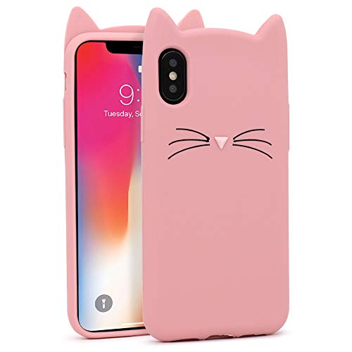 """Yonocosta iPhone X Case, iPhone Xs Case, Fashion Cute 3D Cartoon Pink Whisker Cat Ears Kitty Animal Slim Fit Case, Soft Silicone Rubber Bumper Cover for iPhone X/XS/10 (5.8"""" inch)(iX XS 10)"""