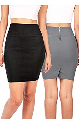 Bundle Packs: Ambiance Women's Juniors Stretchy Bodycon Pencil Skirt