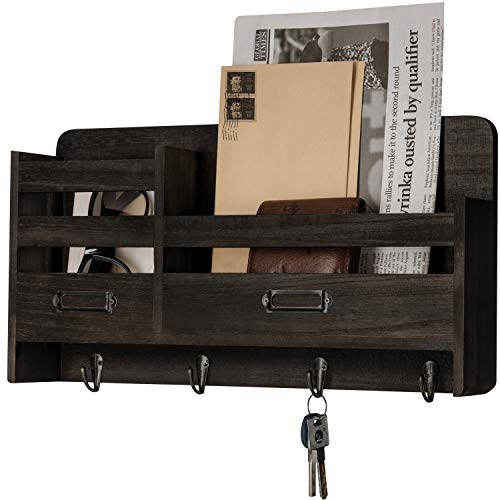 Mkono Mail Sorter Organizer Wood Key Holder Organizer for Wall, Rustic 2-Slot Wall Mail Holder with Tags Frame & 4 Key Hook Rack for Entryroom, mudroom,Hallway, Kitchen, Office,Dark Brown (Organizer Mail Sorter Wall)
