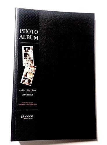 Plain Black Imitation Leather Photo Album Holds 300 4 Inch X 6 Inch Photos by Pinnacle