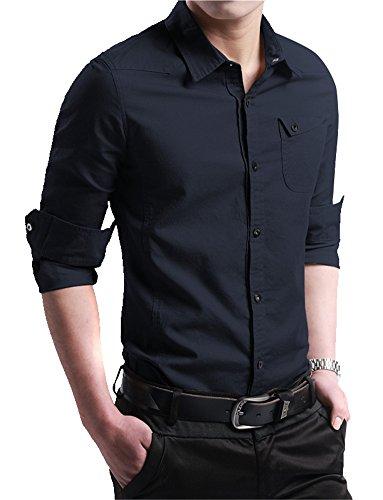 XTAPAN Men's Business Dress Shirt Oxford Button Down Casual Shirt Dark Blue 2XL