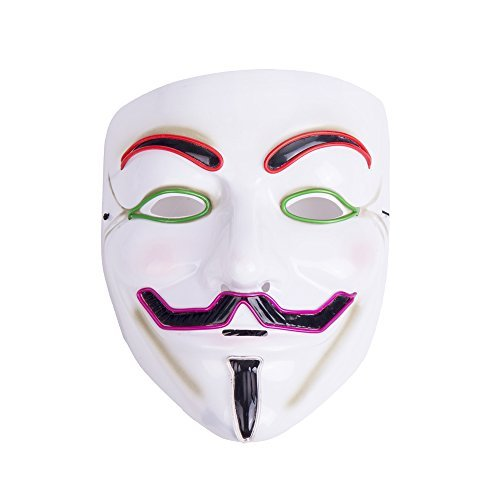 Anonymous Costume Party City (Creative Luminous EL Wire V for Vendetta Led Mask Halloween Light Up Cosplay Mask Costume Fawkes Anonymous for Show Festival Party Halloween by Ansee)