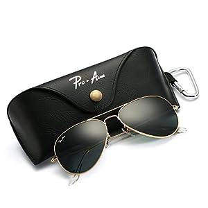 Pro Acme Aviator Large Metal Sunglasses, 58mm (Gold Frame/Crystal Grey)