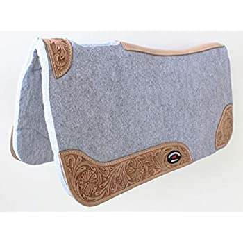 AceRugs 32X32 Western Saddle Pads for Horses Black Wool Felt Ranch Roping Pleasure Trail Anti Slip Comfy Ride