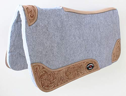 CHALLENGER Horse Saddle PAD Western Contoured Wool Felt Moisture Wicking Grey 39RT03GR