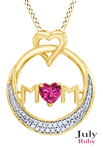 (AFFY Simulated Ruby MOM Circle Pendant Necklace in 14K Yellow Gold Over Sterling Silver)