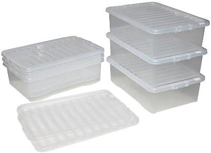 Caja de almacenamiento de plástico transparente (6 unidades, 24 L ...