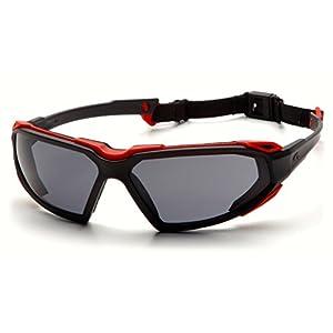 Pyramex Highlander Safety Eyewear, Black-Red Frame/Gray Anti-Fog Lens