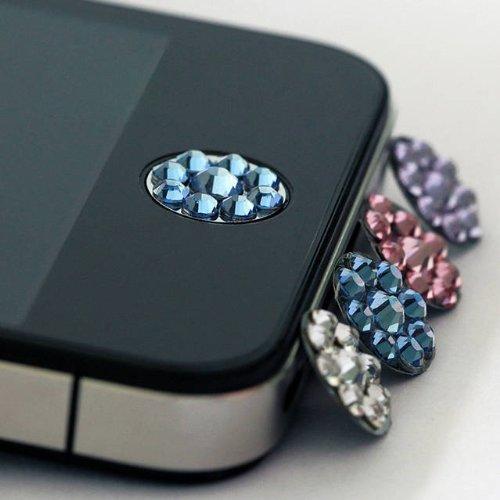 SODIAL(TM) Una Pieza de Pegatina Boton de Inicio Bling Diamante para iPhone en una Caja de Plastico Transparente