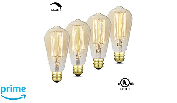 iLumen 110V E26 Base ST64 Dimmable Antique Vintage Squirrel Cage Filament Edison Light Bulb Bombilla Regulable de Edison Del Vintage Filamento Jaula de ...