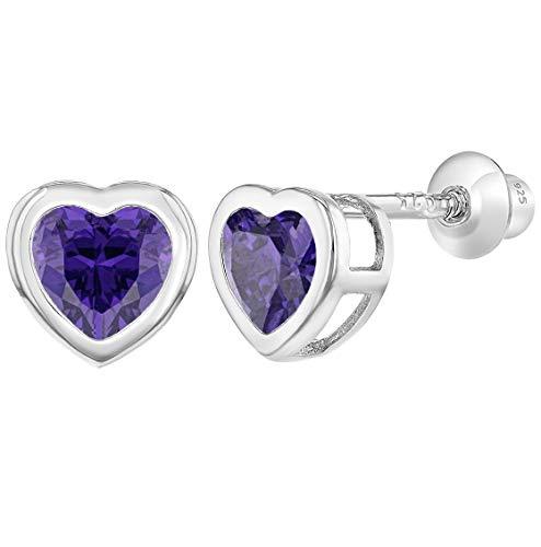 925 Sterling Silver CZ Small Heart Screw Back Earrings Baby Girl