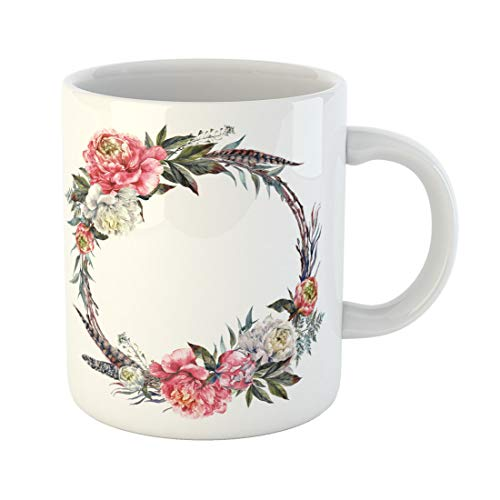 Semtomn Funny Coffee Mug Watercolor Floral Wreath Made of Peonies Leaves Pheasant Feathers 11 Oz Ceramic Coffee Mugs Tea Cup Best Gift Or Souvenir - Wreaths Pheasant Feather