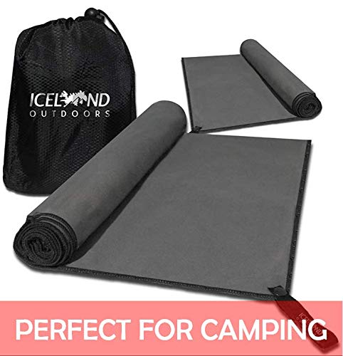 Iceland Outdoors Microfiber Two Pack Camping Towels - Quick Dry Towels - Best for Travel - Hiking & Backpacking - Large 140cmx80cm, Small 80cmx40cm - Super Absorbent & Odor Protection, Free Carry Bag