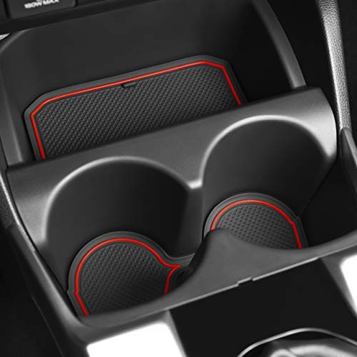 CupHolderHero for Honda Fit 2015-2020 Custom Liner Accessories – Premium Cup Holder, Center Console, and Door Pocket Inserts 13-pc Set (Red Trim)