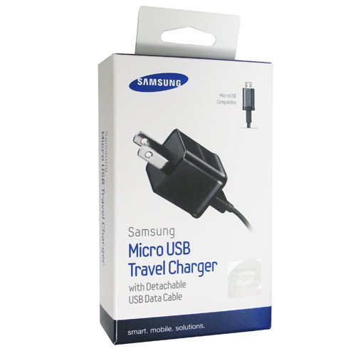 Samsung 1Amp Detachable with USB to Micro USB Cable Travel Charger - Non-Retail Packaging - Black