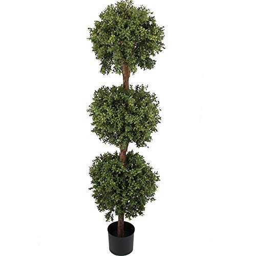 - 4' Double Ball Boxwood Topiary,5' Triple Ball Boxwood Topiary in Plastic Pot Topiary Plant, topiary tree,artificial tree,mat green/Two-tone (Size:60