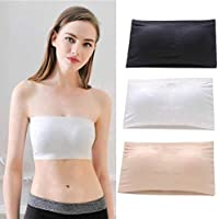 CHOUREN Strapless Bra Bandeau Tube Top Removable Pads Seamless Crop Colors with Hook (Color : Black)