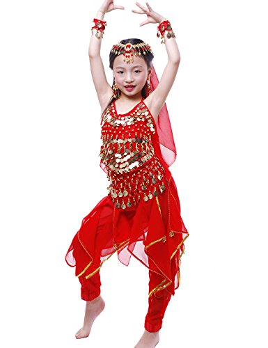 Astage Girls Oriental Belly Dance Sets Costumes All accessories Red M(Fits 5-7 (Arabian Costumes For Girls)