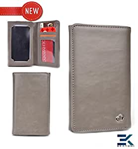 LG Spectrum 2 Case | Universal Bifold Phone PU Leather Wallet - GREY. Bonus Ekatomi Screen Cleaner
