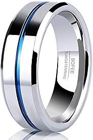 8MM Cobalt COMFORT FIT Flat Plain Polished European Euro Style Wedding Bands for Men