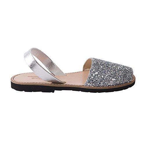 Avarca Minorquines-Sandalias para mujer, diseño de lentejuelas, color plateado Plateado - plata