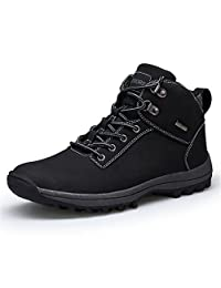 WXDZ Mens Snow Boots Winter Waterproof Leather Outdoor Hiking Work Shoes