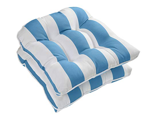 Ornavo Home Water Resistant Indoor/Outdoor Patio Decorative Stripe Tufted Wicker Chair Seat Cushion Pad - Set of 2 - Light Blue