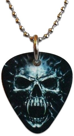 "Unique and Custom (.76 MM Thick) Medium Gauge Aluminum, Traditional Style ""Round Tip"" Guitar Pick Pendent w/ Evil Skull {Grey, Black, & White - One Pick} w/ Hole for Necklace (Skull Pick Necklace)"