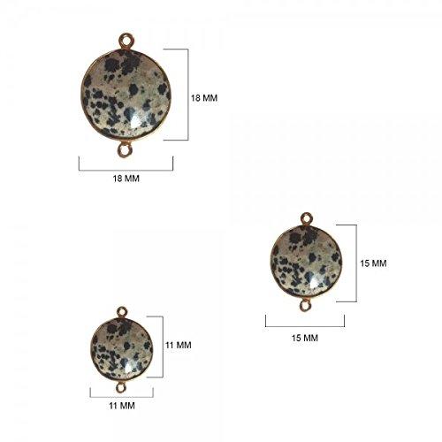 Dalmatian Jasper - Dalmatian Jasper Stone - Dalmatian Jasper Beads - Dalmatian Jasper Coin 18 mm Gold Bezel Double Loop - Bezel Gemstone Connectors - Bezel Coin – Bezel (Jasper Coin Pendant Beads)