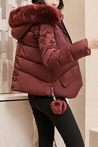 Breve Trapuntata Faux Le Inverno Felpa Giacconi Outwear Occasionale Caldo Wined Peloso x0ZwWfqS