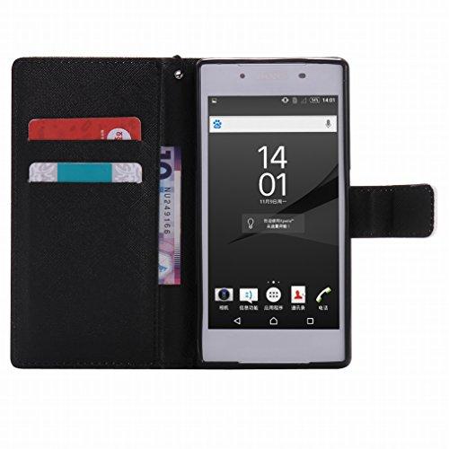 LEMORRY Sony Xperia Z5 Custodia Pelle Cuoio Flip Portafoglio Borsa Sottile Fit Bumper Protettivo Magnetico Chiusura Standing Card Slot Morbido Silicone TPU Case Cover Custodia per Sony Xperia Z5, Vigi